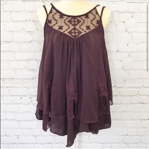 Free People Layered Lace Plum Tank top